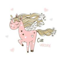 Cute pink unicorn with wings. vector