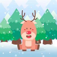 Cute reindeer Christmas character sitting