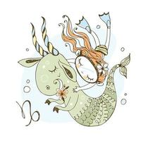 Children's zodiac. Sign Of Capricorn. A girl swimming vector