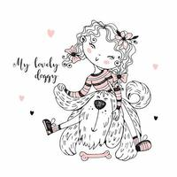 Cute girl playing with her shaggy friend doggie. vector