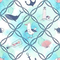 Marine theme with sea ropes whales and gulls vector