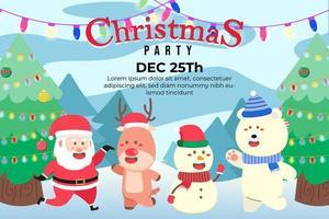 Fondo de fiesta de navidad con santa y amigos bailando vector