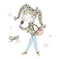 Fashionable cute teen girl eating ice cream. vector