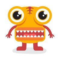 lindo monstruo amarillo de halloween con boca grande vector