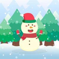 lindo muñeco de nieve personaje navideño agitando las manos vector