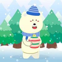 Cute Polar Bear Christmas character holding ornament vector