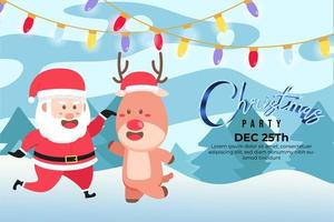 Fondo de fiesta de navidad con lindo santa y reno