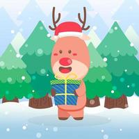 Cute reindeer Christmas character holding gift