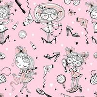 Fashionistas with women's accessories. Seamless pattern. vector