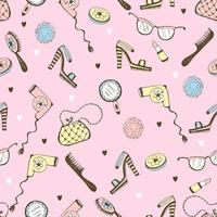 Seamless pattern with cosmetics and women's accessories.