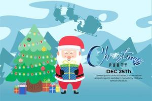 Christmas Party Background with cute santa with gift vector