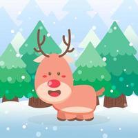 Cute reindeer Christmas character vector