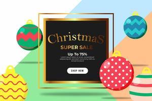 banner de navidad super venta hasta 75 por ciento