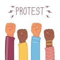 manos interraciales con puños arriba protestando vector