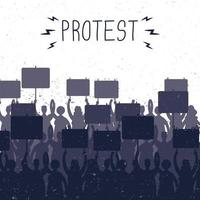 Crowd holding protest banners, silhouettes scene vector