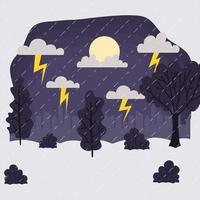 Rainy and storm landscape, weather and climate scene vector
