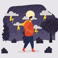 Hombre con mascarilla en el paisaje lluvioso vector
