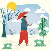 Mujer con mascarilla en un paisaje de clima frío vector