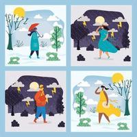personas al aire libre en diferentes escenas de la temporada.