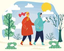 Pareja con mascarillas en una escena de temporada de invierno