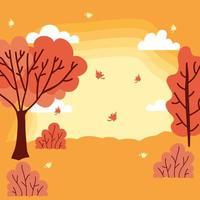 linda escena del clima de la temporada de otoño vector