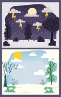 Cute seasons scene card background set vector