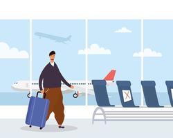 Hombre con mascarilla y maleta en el aeropuerto. vector