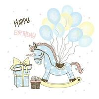 Toy horse unicorn and balloons and gifts