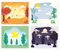 Cute seasons scene background collection vector