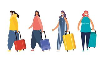 Interracial female travellers with suitcases avatar characters vector