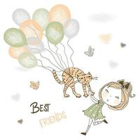 Girl catches her pet cat flying on balloons. vector