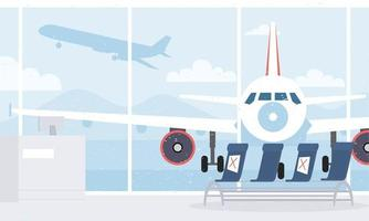 Airport lounge room with social distance background vector