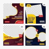 Food social media banner post template set vector