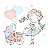 Cute little girl with a toy baby stroller