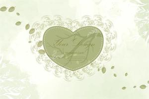 Green heart frame with leaves design vector