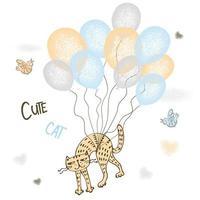 lindo gato rojo volando en globos.
