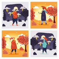 People outdoors in different season scenes