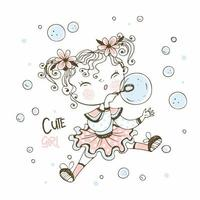 Cute little girl blowing soap bubbles. vector