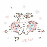 Cute little ballerina in a tutu resting. vector