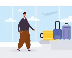 hombre en el aeropuerto con el carrusel de equipaje vector