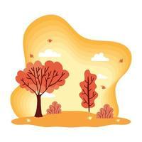 Cute autumn season weather scene vector