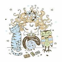 una bruja con un gato y un búho