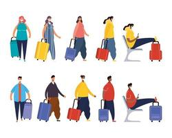 Interracial travelers with suitcases avatar characters vector