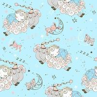 patrones sin fisuras con corderos voladores y bebés