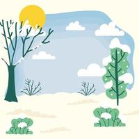 Cute winter season landscape, weather and climate scene