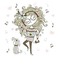 Cute girl listening to music with headphones and dancing vector
