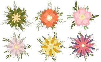 conjunto de ramo floral vector
