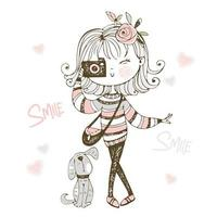 Cute fashionable girl with a camera with dog. vector