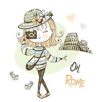 Girl with a camera takes pictures in Rome vector