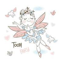 Cute tooth fairy flies with small teeth.